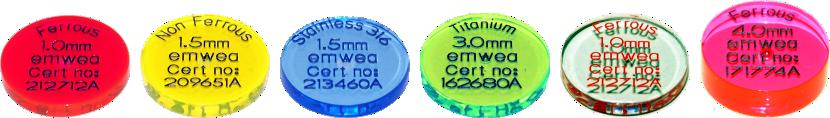 Testchips für Metallsuchgeräte aus PMMA (Acryl)