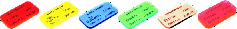 Testkarten für Metallsuchgeräte aus PMMA (Acryl)